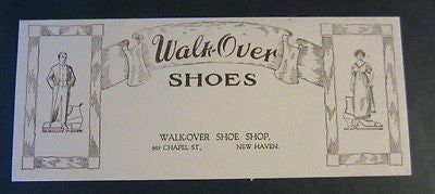 Old c.1920's WALK-OVER SHOES - Shoe Shop Advertising BLOTTER - New Haven CT.