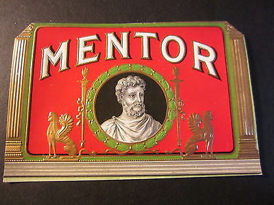 Original Old Antique - MENTOR - Outer CIGAR BOX LABEL - Roman Philospher