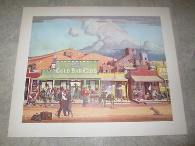 Old c.1960 - The MINING TOWN - Art PRINT - Clyde Forsythe GOLD STRIKE Series