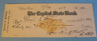 1898 BOISE IDAHO Capital State Bank Check Revenue Stamp - Loree Frantz Hardware