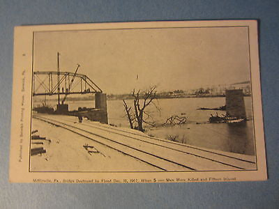 Old 1907 - MIFFLINVILLE PA. Bridge Destroyed by Flood - POSTCARD - Pennsylvania