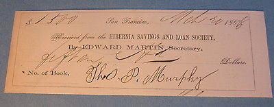 1868 Hibernia Savings & Loan SAN FRANCISCO Deposit Document - Thos. P. MURPHY