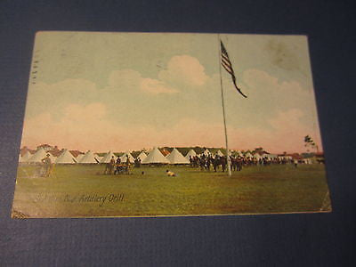 Old 1908  SEA GIRT N.J. - Artillery Drill - Military - POSTCARD - New Jersey