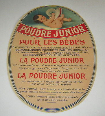 Original Old Vintage 1930's French -  BABY POWDER - Advertising SIGN / Label