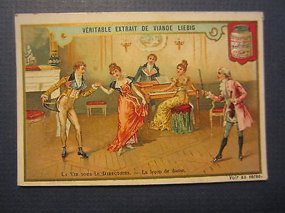 Old 1880's - LIEBIG Meat Extract TRADE CARD - DANCING - Dance Lesson / Piano