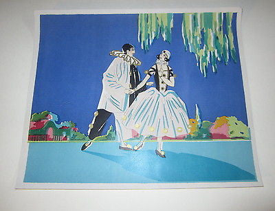 Original Old c.1930's Vintage PIERROT Clown and Dancer - LABEL / PRINT