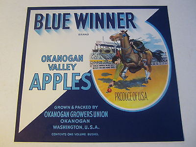 Original Old Vintage - BLUE WINNER Apple Crate LABEL - RACE HORSE - Okanogan