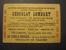 1890's CHOCOLAT LOMBART - French TRADE CARD - Hotel De Ville - PARIS - CHOCOLATE