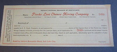 Old c.1900 PIOCHE LAST CHANCE MINING Co. - Stock pending Issuance Document