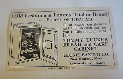 Old Vintage GIUSTI BAKING Co. - Tommy Tucker BREAD and CAKE Cabinet COUPON
