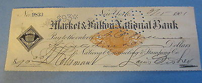 1901 National Enameling & Stamping Co. New York BANK CHECK - Granite Steel Ware