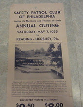 1955 Philadelphia Safety Patrol Club Broadside POSTER - Outing to HERSHEY PARK