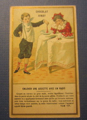 Old 1890's CHOCOLAT VINAY French Victorian TRADE CARD - RADISH Plate Lift Trick