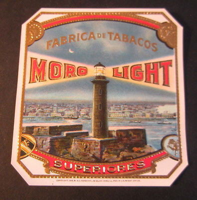 Original Old - MORO LIGHT Outer CIGAR BOX Label - LIGHT HOUSE