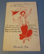 Old 1909 - Miss BERWICK -  PA. High School - PENNANT / FLAG GIRL Postcard