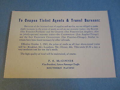 Old 1941 S.P. Railroad - TRAIN MEAL PRICE CHANGES - Announcement CARD