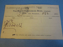 Old 1893 Anglo-Californian BANK Postal Card - SAN FRANCISCO CA.
