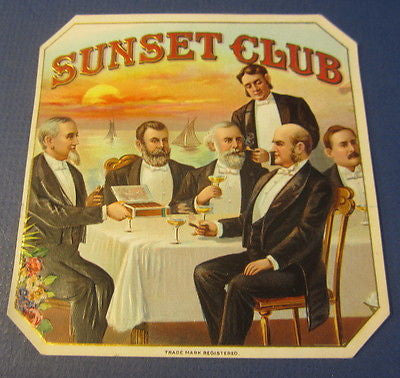 Original Old Antique SUNSET CLUB Outer CIGAR LABEL - Rockefeller Pullman Armour