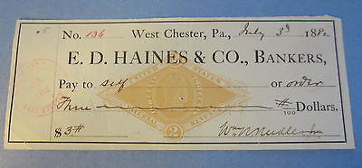 1882 WEST CHESTER PA. - Bank Check - Revenue Stamp - E.D. Haines & Co. Bankers