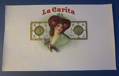 Original Old Antique - LA CARITA - Inner CIGAR Box LABEL - Woman with Fancy Hat