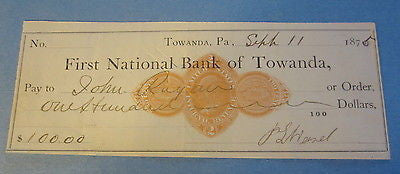 1875 - First National Bank of TOWANDA PA. Bank Check - Revenue Stamp