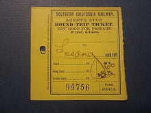 1896 Southern California RAILWAY Train TICKET - RIVERA Los Angeles - Round Trip
