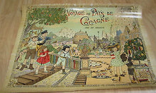 Old c.1900 Antique French  Game PRINT - Voyage au pays de Cocagne - BOX COVER