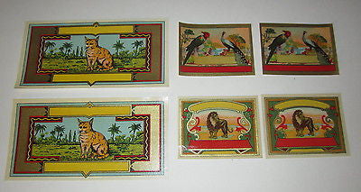 Lot of 6 Old 1890's Fabric Labels - Peacock / Parrot - Lion - Cat - 2 of each