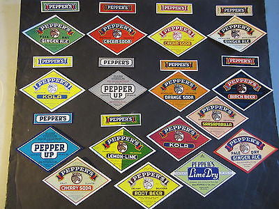 Lot of 26 Old - PEPPERS Brand - SODA BOTTLE Labels - Wm Pepper ASHLAND PA.