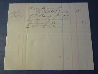 Old 1893 Utica Mining Co Bill Document - STAMPS - Angels Camp POSTMASTER PEACHEY