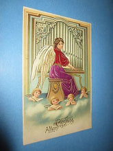 Old 1907 - MERRY CHRISTMAS POSTCARD - Angel Playing PIPE ORGAN - Singing