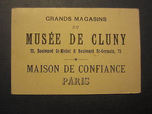 Old 1880's - MUSEE DE CLUNY - French TRADE CARD - Department Store - PARIS