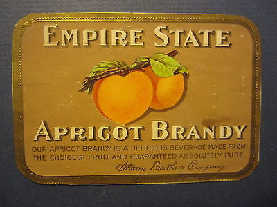 Old Antique c.1910 - EMPIRE STATE - Apricot Brandy - LABEL