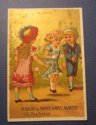 1880's Maison MOINE SAINT MARTIN French TRADE CARD - PARIS - Children JUMP ROPE