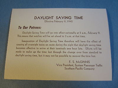 Old 1942 - S.P. RAILROAD WWII - Daylight Savings Time - Announcement CARD