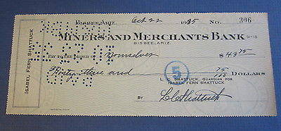 1935 - BISBEE Arizona - Miners Merchants BANK CHECK - Isabel Fern Shattuck