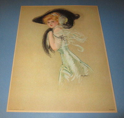 Old Vintage 1909 Antique VICTORIAN PRINT - Art Nouveau - LADY - Maud Stumm