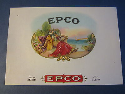Original Old Antique - EPCO - Inner CIGAR Box LABEL - Egyptian Woman by the SEA