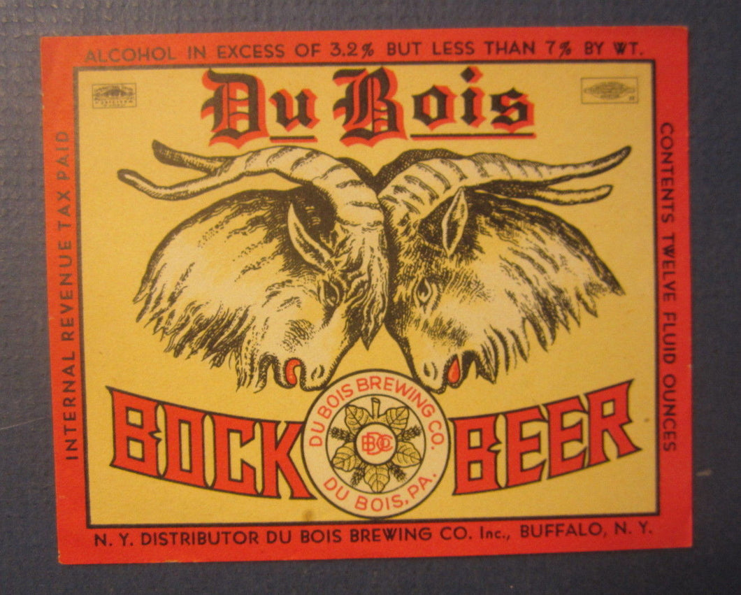 Old Vintage - DU BOIS - Bock BEER - LABEL - Du Bois Brewing Buffalo N.Y. - IRTP
