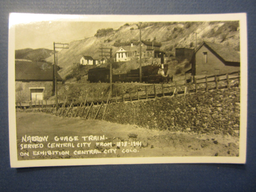 Old Vintage 1940's CENTRAL CITY COLORADO - Train - RPPC Real Photo POSTCARD