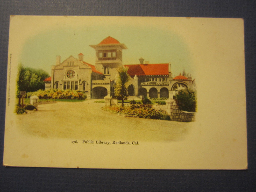 Old c.1905 REDLANDS CA. Public Library POSTCARD - California - Edward Mitchell