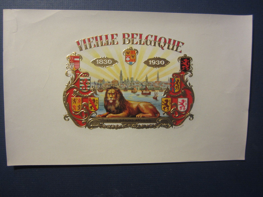 Original Old Vintage - VIELLE BELGIQUE - Inner CIGAR LABEL - LION - 1830-1930