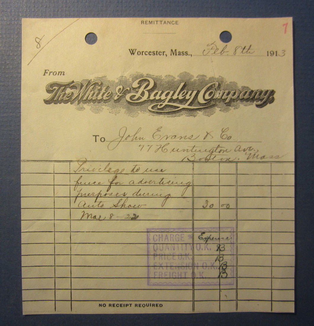Old 1913 - The WHITE & BAGLEY Company - Billhead Document - Worcester MASS.