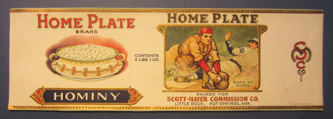 Old Vintage 1920's - HOME PLATE - BASEBALL Can LABEL Little Rock ARK. - CALVERT