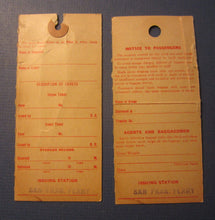 2 Old Vintage 1929 S.P. / YOSEMITE VALLEY RAILROAD Baggage TAGS - Barrett CA.