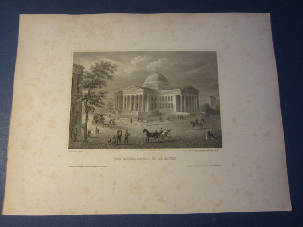 Original Old c.1850 Antique Print - Court House in ST. LOUIS - Hermann Meyer