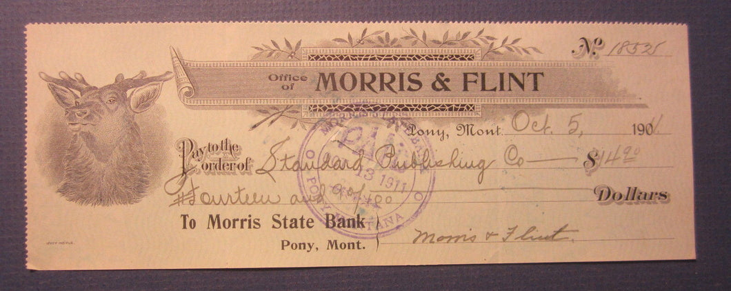 Old 1911 - MORRIS & FLINT - Pony Montana - BANK CHECK - Morris State Bank