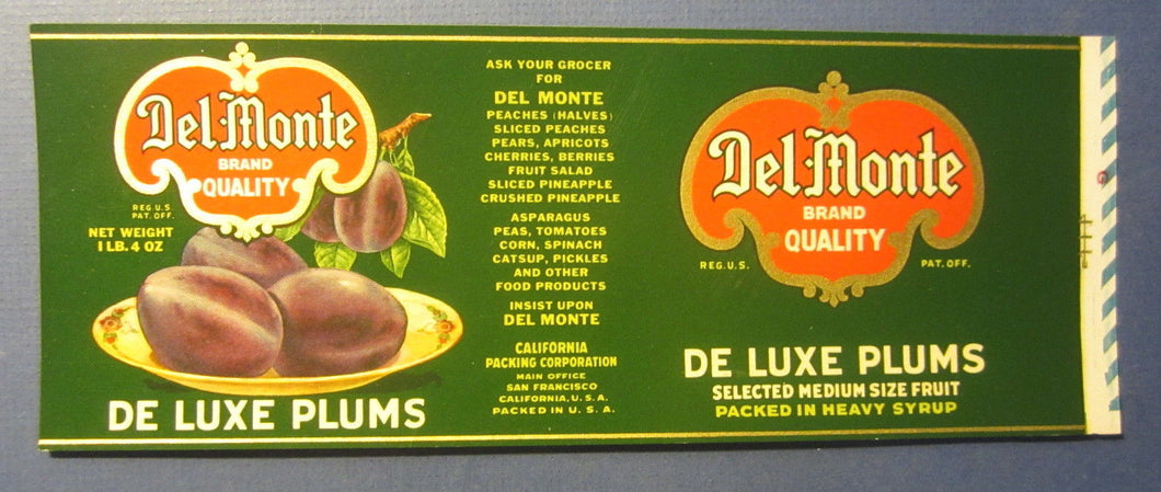 Old Vintage DEL MONTE Plums Can LABEL - California Packing Corp - San Francisco