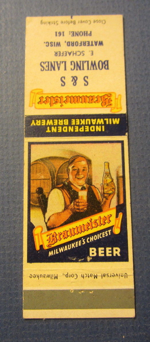 Old Vintage Braumeister BEER Matchcover - S&S Bowling Lanes Waterford Wisconsin