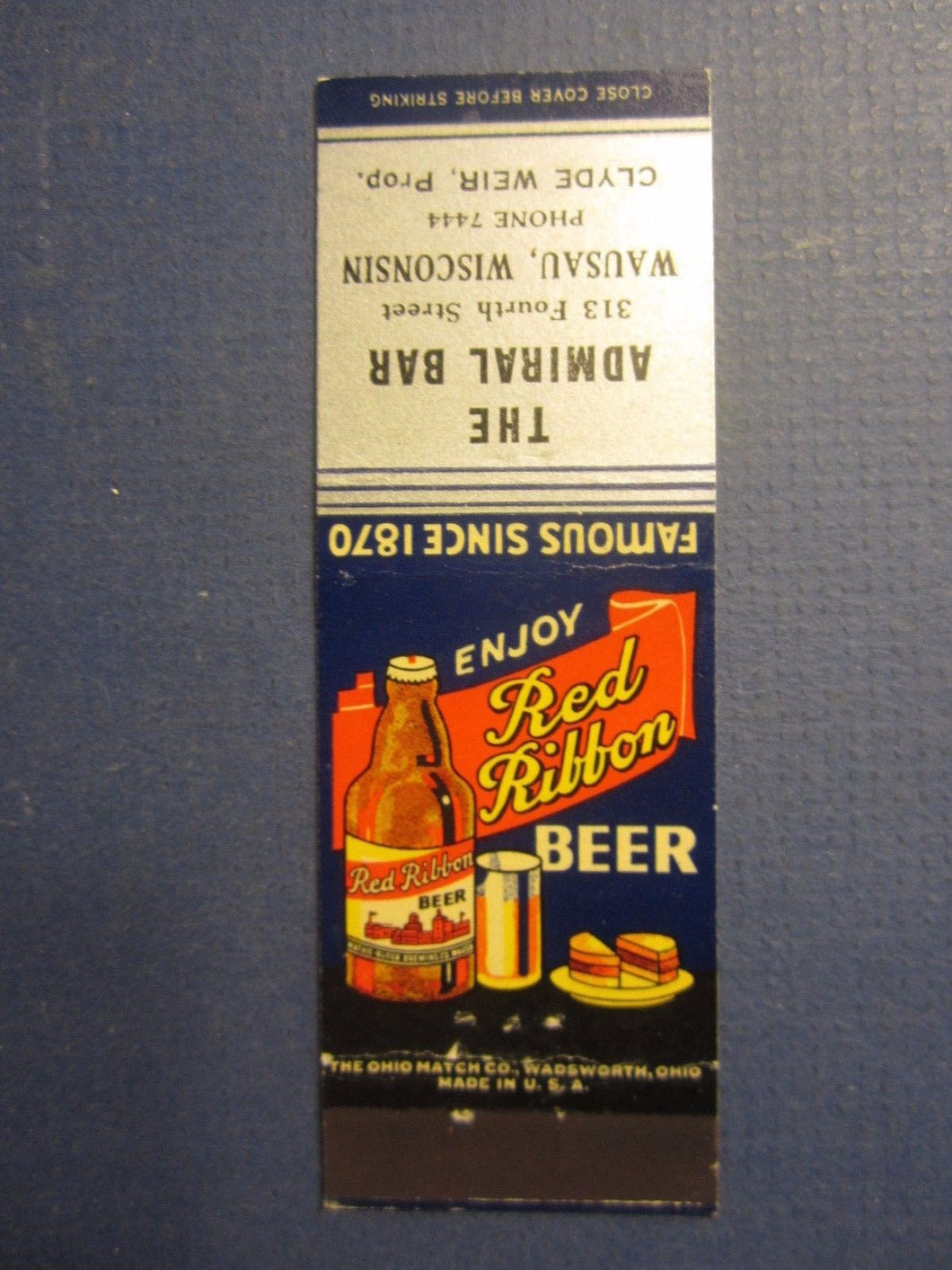 Old Vintage - RED RIBBON BEER - Matchcover - Admiral Bar - Wausau WISCONSIN